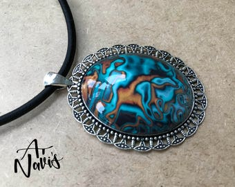 Sale // Statement Handmade Polymer Clay Pendant on Black Chord // One of a Kind Necklace // Unique Gift for Her // Turquoise and Copper