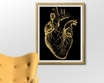 Anatomical Heart Poster, Cardiologist office Art, Doctor Office Printable, Cardiac Clinic Art, Black and Gold Print 8x10 Waiting Room Art
