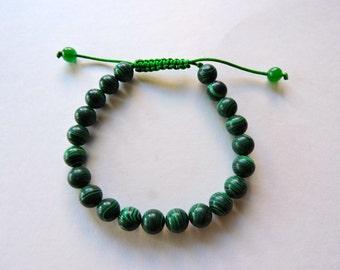Malachite Tibetan Wrist Mala Bracelet for Meditation