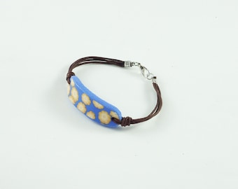 Leather bracelet, polymer clay bangle, handmade millefiori bracelet, friendship bracelet, floral bangle, polymer clay jewelry design.