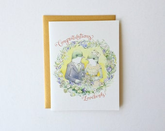 "Wedding / Engagement / Anniversary Card - ""Congratulations Lovebirds!"" - romantic vintage mr. mrs. bird"
