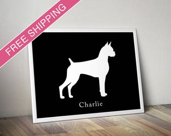 Personalized Boxer Silhouette Print with Custom Name (cropped version 1) - dog art, dog gift, dog poster