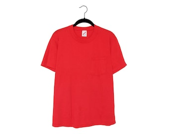 Vintage Jerzees Bright Red 50/50 Poly-Cotton Blend Pocket T-shirt, Made in USA - Large