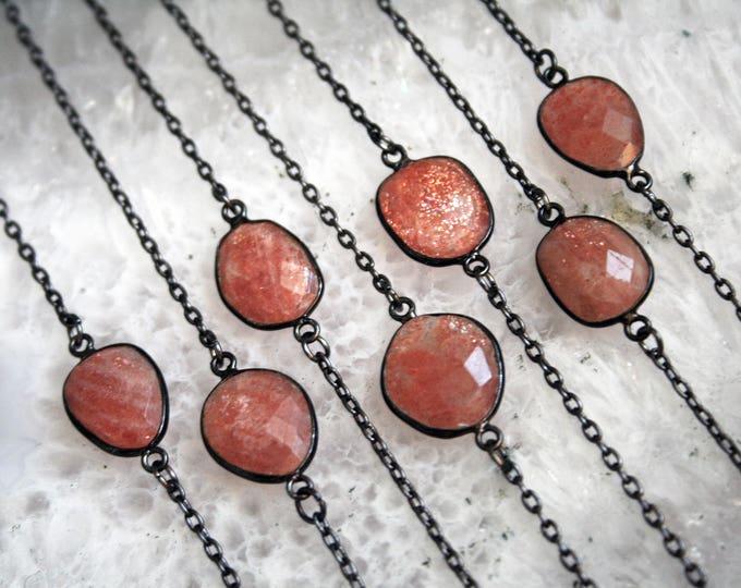 Petite Sunstone Gunmetal Necklace