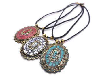Tibetan Mosaic Pendant Necklace - Turquoise Stone and Coral Mosaic Shaving