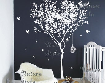 winter Vinyl wall decals tree wall decal birds birdcage wall decals nursery wall sticker kids children wall decals  - Tree with Flying Birds