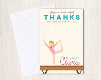 Gymnastics Thank You Note - Gymnast party thank you card - party supplies