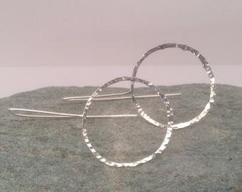 Minimalist silver hoops, hoop earrings, silver hoop earrings, contemporary hoop earrings, hammered silver earrings, threader earrings