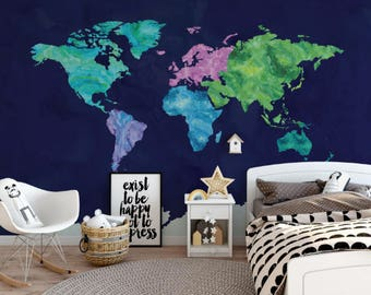 World map wallpaper etsy peacock watercolor map wallpaper peacock colored map wall mural self adhesive gumiabroncs Choice Image