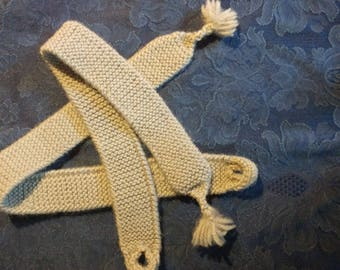 Plain knit garters, gray wool