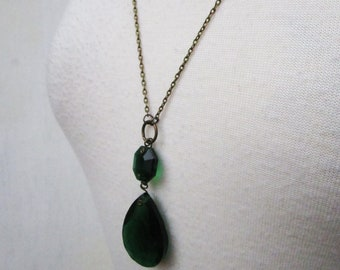 Emerald Tears Necklace - rare vintage emerald green glass chandelier crystal pendant on long bronze necklace