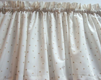 Off-White Valance with Gold Triangles Curtain Window Treatment For Any Room