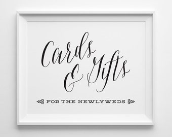 Wedding Signs, Wedding Cards and Gifts Sign, Gift Table Sign, Black and White Wedding Reception Sign, Script Wedding Card Sign, WS1B