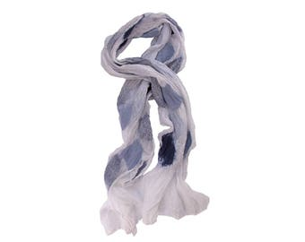 Nuno Felted Silk Scarf in White with Shades of Blue