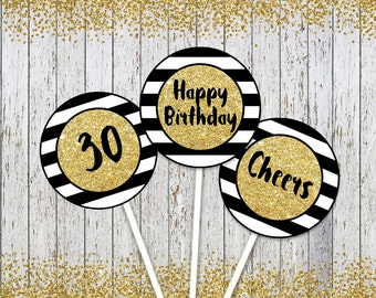 30th Birthday Toppers, Black Gold 30th Birthday Decor, 30th Birthday, Printable Birthday Cupcake Toppers, Party Decoration, Printable Tags