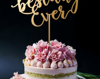 Best Day Ever Cake Topper, Best Day Ever Monogram Cake Topper, Keepsake Wedding Cake Toppers for Wedding, Anniversary and Birthday A2028