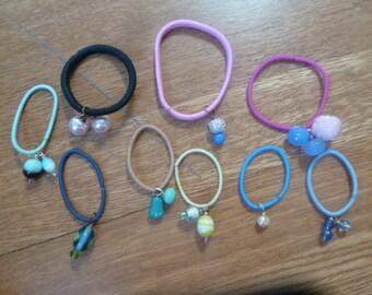 Nine Beaded Pony Tail  Hair Bands