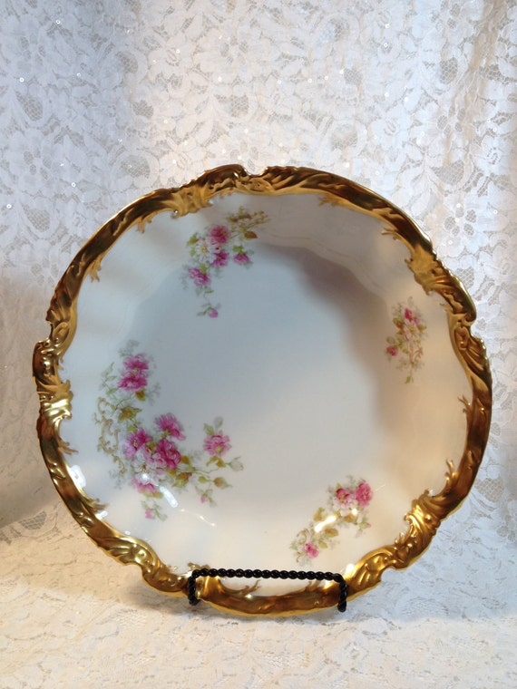 Antique Limoges Coronet France Large Bowl With Hand Painted