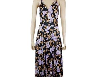 Vintage 70s Floral Patterned Halterneck Midi Dress UK 8/10