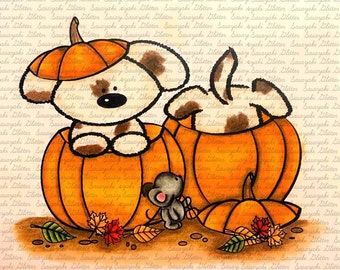 Halloween Pups digital stamp by Sasayaki Glitter - Naz - Line art only