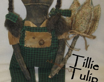 "Tillie Tulip Primitive 16"" Black Doll  IMMEDIATELY DOWNLOADABLE E-PATTERN"