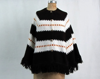 Vintage 1960s Poncho | Wool Knit | Brown and White | Gold Buttons | Medium | Boho