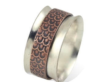 Sterling Silver Band Spinner Ring with Copper Scale Center - Ode to Blackfish Tully- Anxiety Ring, Fidget Ring, Stress Ring, Meditation Ring