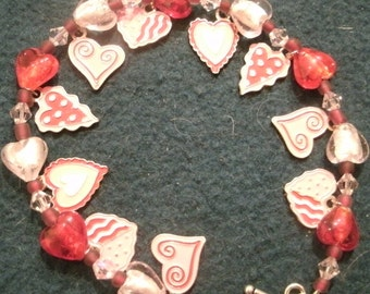 Valentine Red and Pink Enamel Heart Charm and Beaded Dangle Bracelet
