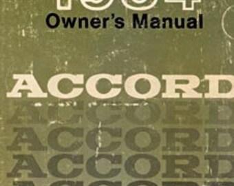 1984 Honda Accord Owner's Manual  00X31-SA5-6203