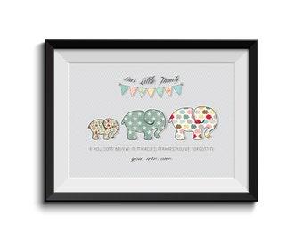 INSTANT DOWLOAD, Family Motivation Quote,Baby Elephant, Nursery Art, Children Room, Shabby Chic
