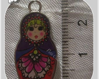 1 PENDANT charm MATRYOSHKA BABUSHKA Russian DECORATIVE metal doll * B314