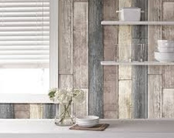 NU1690 Taupe Grey Reclaimed Wood Plank Peel & Stick Wallpaper