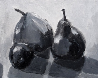 "Still Life, ""Two Pears and a Plum, Black and White,"" Original acrylic painting, 8"" x 10"""