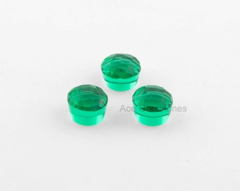 Green Fluorite Quartz Faceted 12 mm Round 8 mm high Gemstone, Loose Gemstone, Top Quality Stone, Calibrated Cabochon - 5pcs.