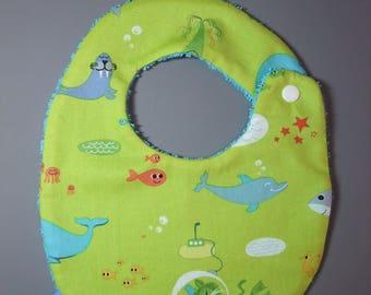 Marine animal print green baby bib