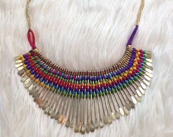 Rainbow Necklace- Marcrame Necklace- Micro Macrame- Gypsy- Tribal