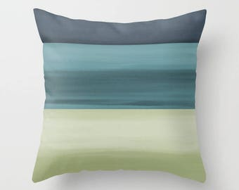 Throw Pillow Cover, Teal Green Navy, Home Decor, Cushion Cover, Couch Pillow Cover