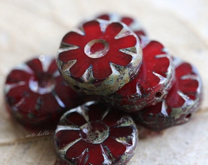 sale .. CHERRY BLOOMS .. 6 Picasso Glass Czech Chunky Beads 13x5mm (4806-6)