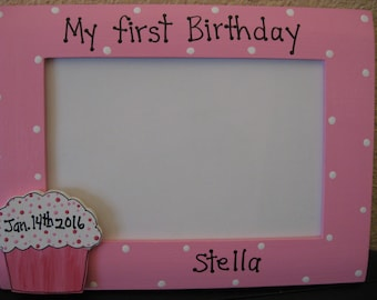 Girls first 1st birthday frame birthday party personalized custom photo picture frame