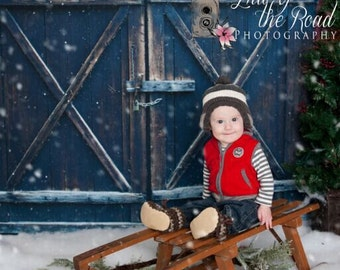 Old Barn Doors Photography Backdrops, Christmas Day Photo Printed Doors Newborn Cowboys Photo Background D4822