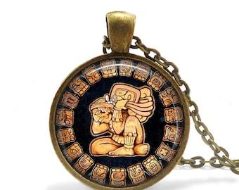 Mayan Calendar Pendant / Mayan Mexico Aztec / Maya Civilization /