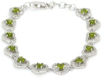 """Sterling Silver Green Peridot Gemstone Heart Bracelet With AAA CZ Accents Size 8"""" 9"""""""