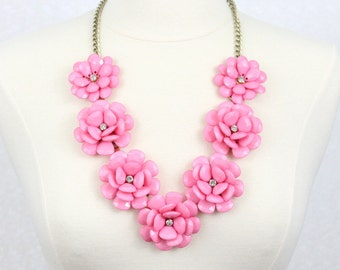 Beaded Rose Necklace Chunky Flower Statement Necklace Pink