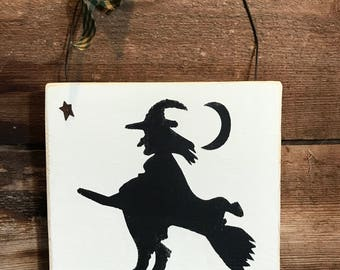 Halloween Witch Wooden Wall Hanging