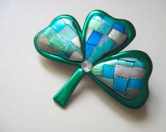 Quilted Shamrock Saint Patrick's Day Irish Pin Brooch