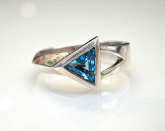 Sterling Silver Trillion Topaz Ring