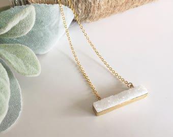 White Druzy Pendant/Gift for Her/Birthday Gift/Valentine's Day Gift