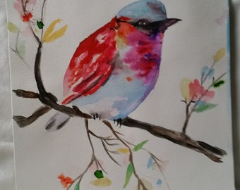 Finch Colorful Original Watercolor Wall Art, office,Home,11x14