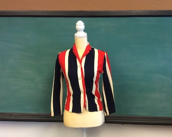 1950's Catalina Red, White and Blue patriotic Sports Blouse