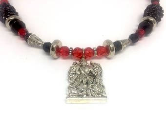 Silver Durga necklace black and red Kashmiri beads Chunky necklace Choker mala traditional Indian temple bridal jewelry unique gift for mom